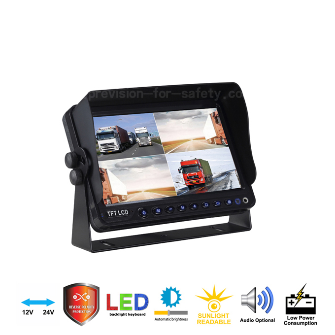 Quad 7 Inch Heavy Duty Vehicle RV Backup Monitor P...