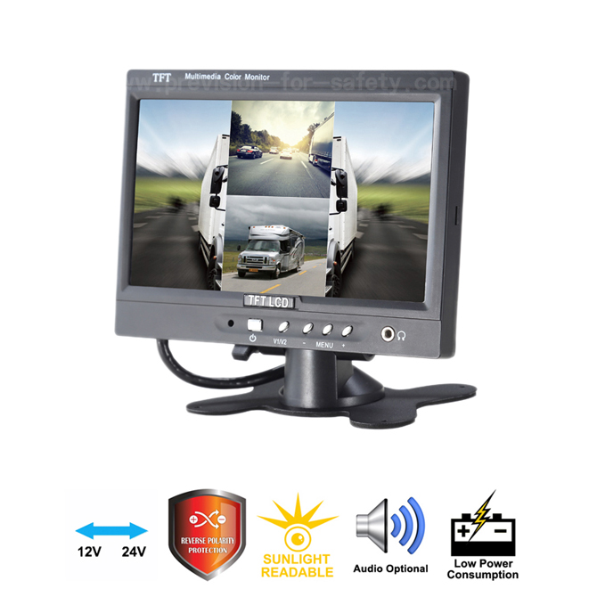 7 Inch Built-in Quad Vehicle RV Backup Monitor PVS...