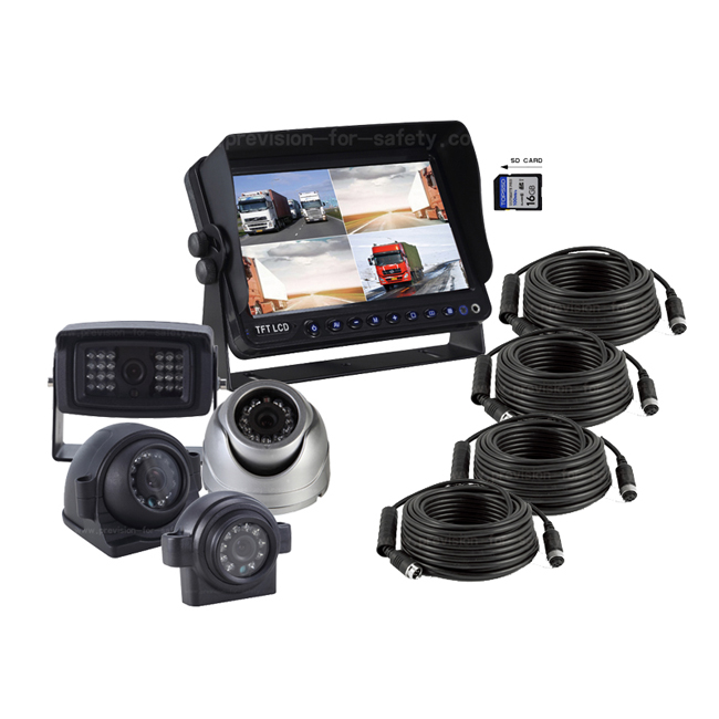 7 Inch Vehicle DVR Quad 2-in-1 RV Backup System PV...