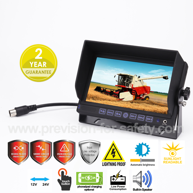 7 Inch Heavy Duty Vehicle RV Backup Monitor PVS-71...