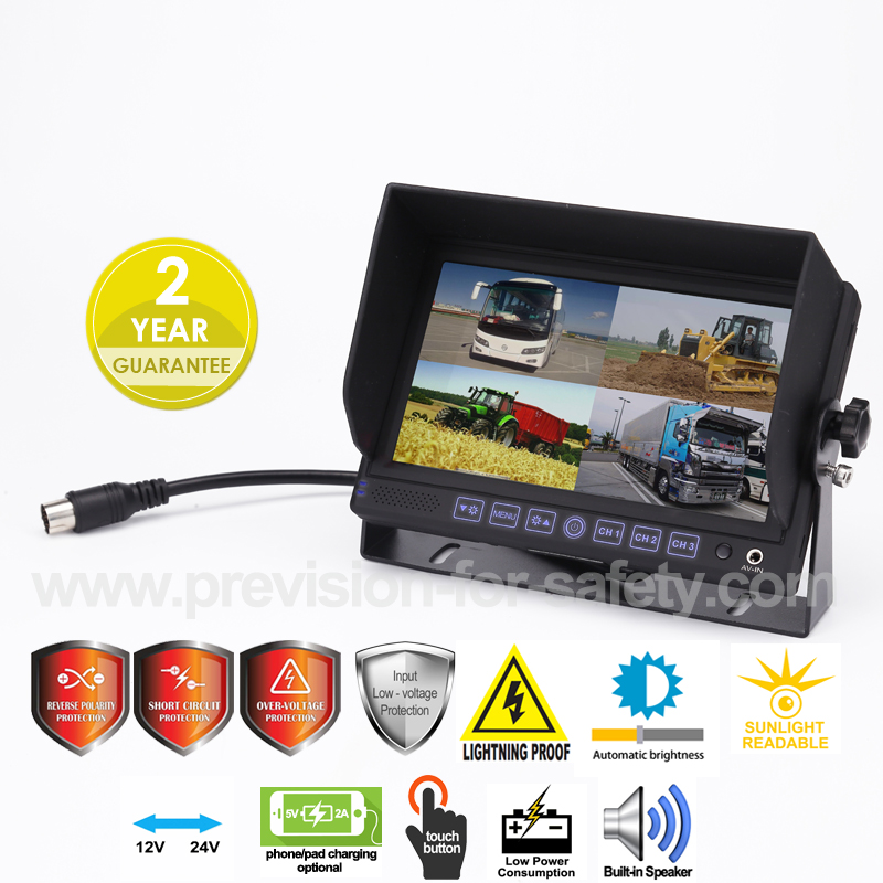 7 Inch Vehicle Quad RV Backup Monitor PVS-7128Q