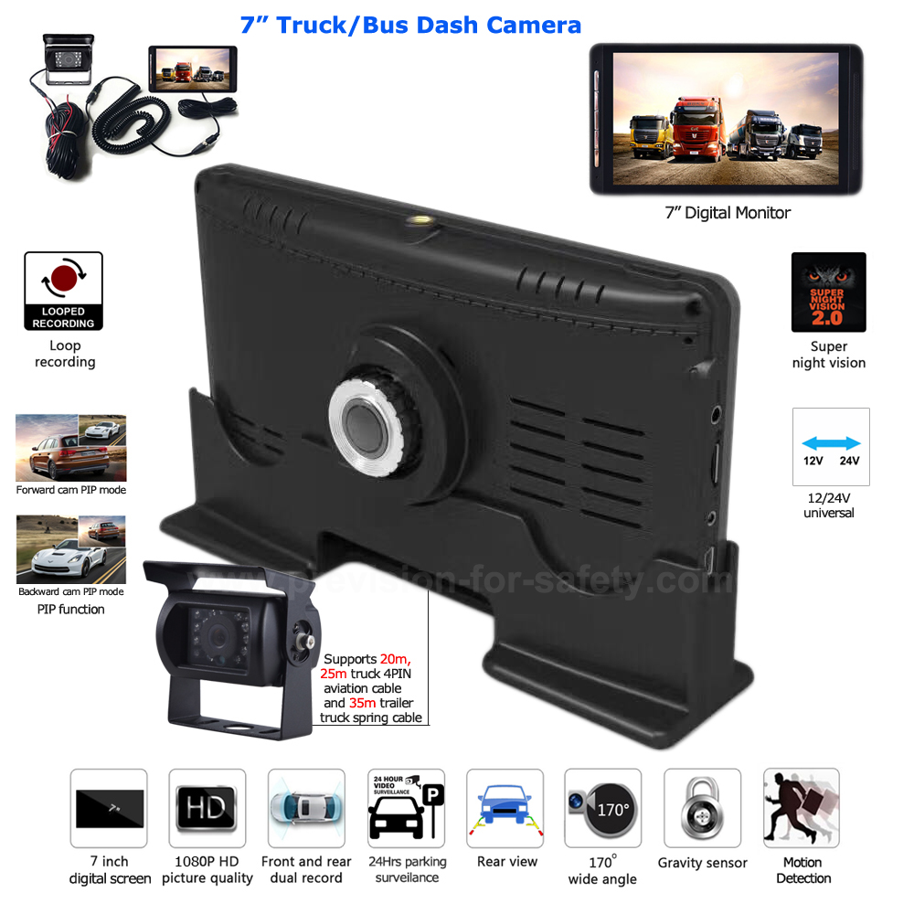 7 inch truck bus dual record dash cam DVR